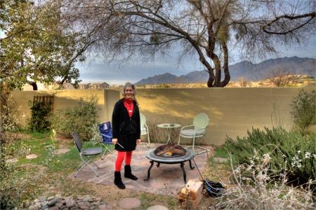 Sheila Shea in her Yard before February Raw Potluck